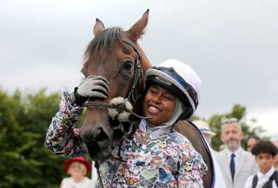 Women sport news - Khadijah Mellah, UK's first female Muslim jockey, wins debut race at Glorious Goodwood