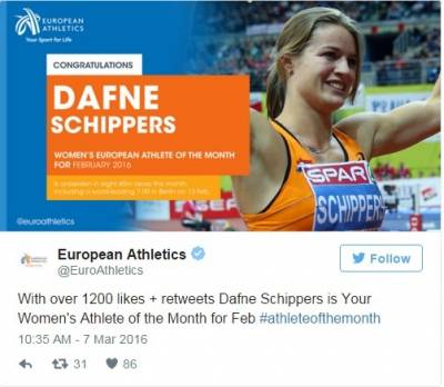 Women sport news - Schippers Voted European Athlete of the Month