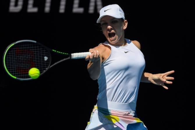 Muguruza sets up final showdown with Halep