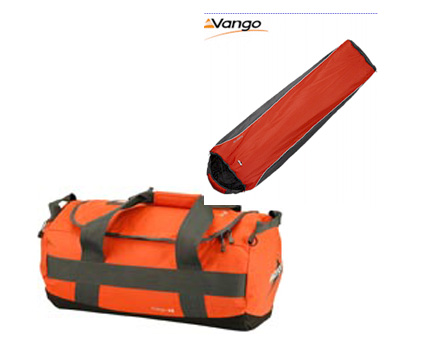 Vango Red Clay Cargo 45 Litre Bag and The Vango Planet 100 Sleeping Bag